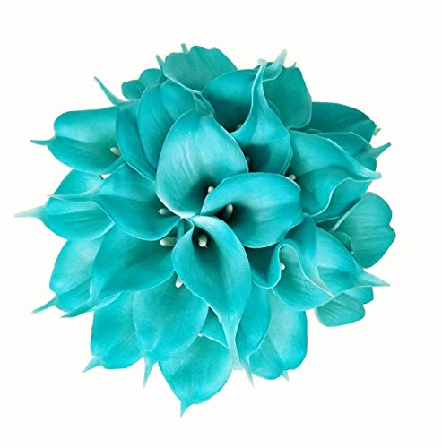 (FRP Flowers - Calla Lily - Artificial Real-Touch Latex Flowers for Floral Arrangements, Bridal Bouquets, and Home Decor 20 PCS (Tiffany Blue))