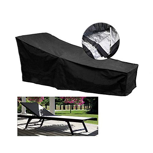 2 Pack Patio Furniture Covers Oxford Cloth Dust Outdoor Waterproof Table and Chair Chaise Lounge Heavy Duty Set Durable Cover for Garden Care Black