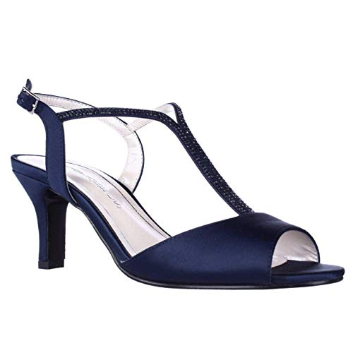 - Caparros Womens Delicia Open Toe Special Occasion T-Strap, Navy Satin, Size 10.0