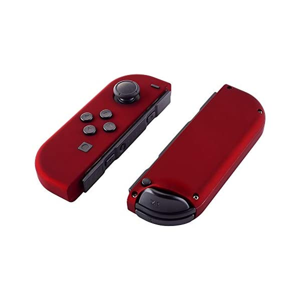 eXtremeRate Soft Touch Grip Red Joycon Handheld Controller Housing with Full Set Buttons, DIY Replacement Shell Case for Nintendo Switch Joy-Con – Console Shell NOT Included 3
