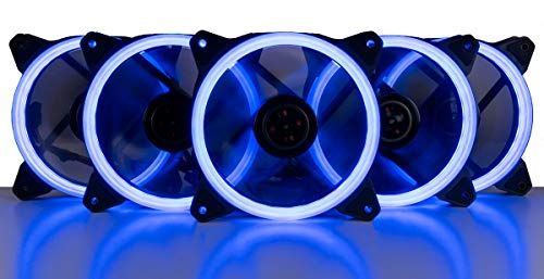 5 Pack Blue Led - CUK 5-Pack Blue Halo Ring 120mm LED Vibrant Color Computer Case Fan for CPU Coolers and Radiators - High Airflow 45 CFM & Anti-Vibration Pads