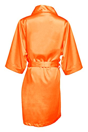 Women's Tangerine Satin Bridal Blank Robe S/M 4-12 (Orange Robe)