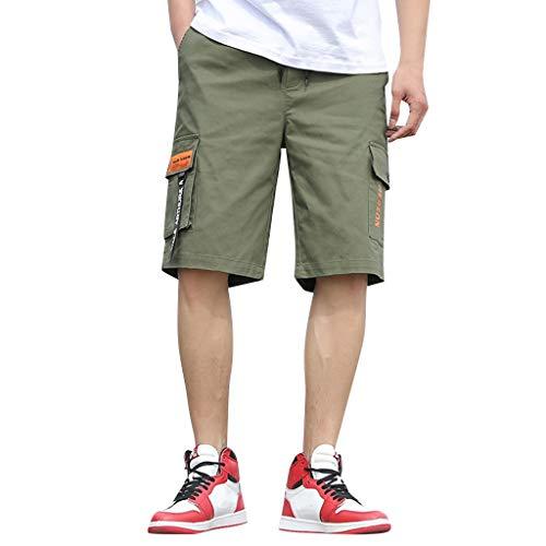 Yellsong Shorts Pants for Men,Men's Casual Twill Elastic Cargo Shorts Below Knee Loose Fit Multi-Pockrt Capri Long Shorts