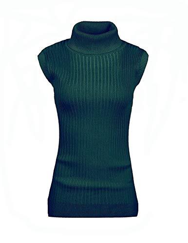 v28 Women's Ladies Juniors Sleeveless Mock Neck Turtleneck Tops Jumper Sweater(XL(16), Dark Green)