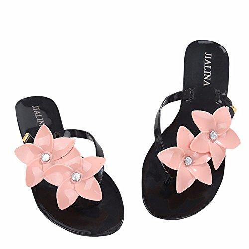 Fond en Femmes Chaussons YUCH Plat Black À Toe Sandales pour Plastique xqBnO8T