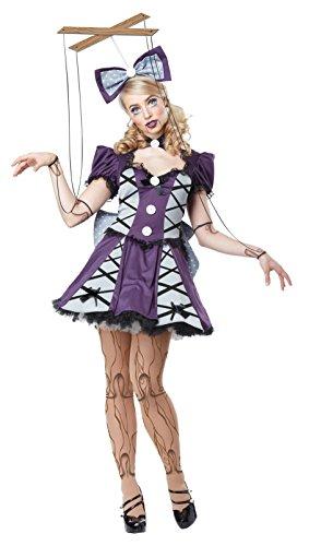California Costumes Women's Marionette, Eggplant/Silver, Medium - Creepy Marionette Puppet Costume
