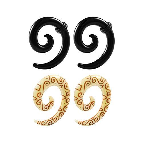 - BIG GAUGES 2 Pairs Black Coil Acrylic 2gauges 6 mm Spiral Taper Expander Piercing Ear Stretcher Tribal Carving Symbols Plugs BG6218