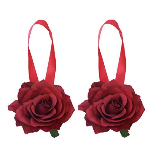 Moraphee - 2 Abrazaderas de Hebilla para Cortinas con imanes, para Ventanas, Cortinas y Flores, Longitud 40 cm, Rojo