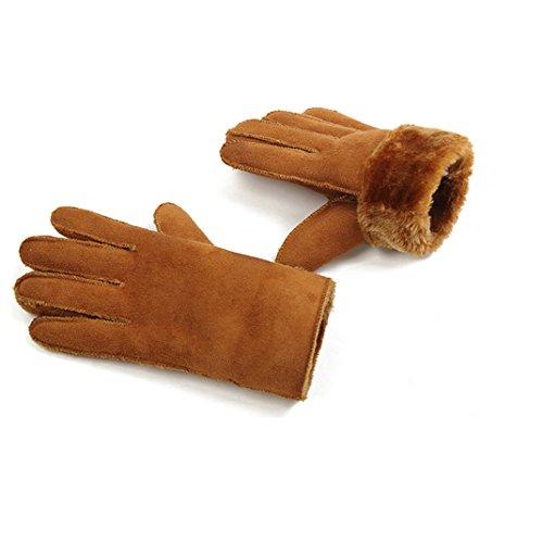 Unisex Men Women Winter Suede Leather Gloves Warmer Gloves Women Camel