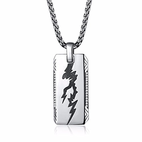 (Caperci Sterling Silver Lightning Diamond Iced Out Dog Tag Pendant Necklace for Men, 28'')