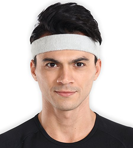 Sports Sweatband - Sweat Headband for Men & Women - Stretchy & Sweat Absorbing Cotton Terry - Perfect for Basketball, Tennis, Soccer, Running & Working ()