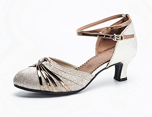 Shoes with Glittering closedtoe Latin Ankle Silver Straps Salsa Ladies Dance Striped Ballroom TFWnY