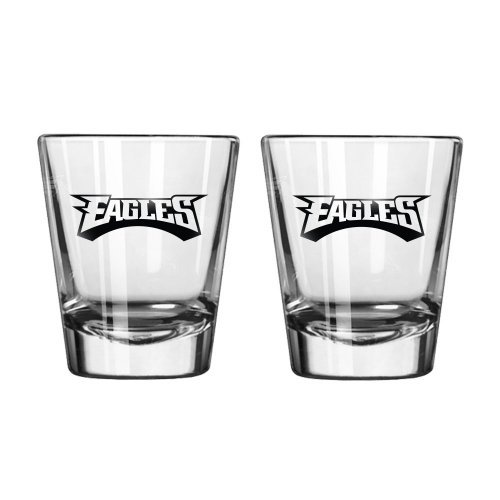 NFL Football Team Logo Satin Etch 2 oz. Shot Glasses | Collectible Shooter Glasses - Set of 2 (Eagles)