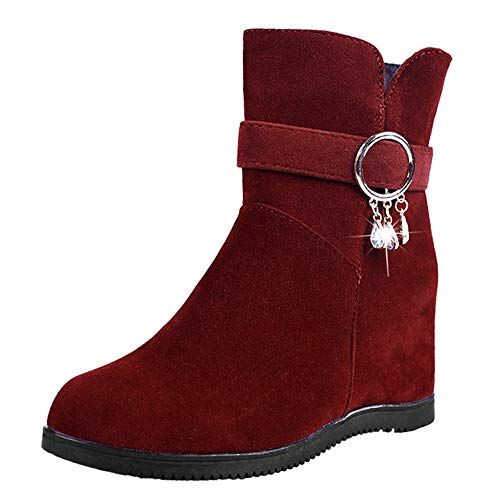 Winter Women's BaZhaHei Low 6 Middle Boots Wedges Casual Boots Flats Shoes Red Suede Martin 5 Toe Flock Round Boots Tube 2 Zipper Shoes Women 5 Heels Size Shoes Boots rIT1rwxq