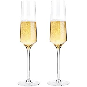 Bella Vino Crystal Champagne Flute Glasses - Beautifully Designed Hand Blown Champagne Glasses, 100% Lead Free Premium Crystal Glass, Perfect for Any Occasion,Great Gift