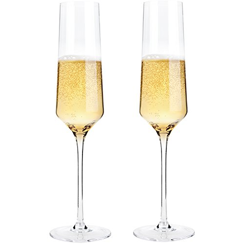 Hand Blown Crystal Champagne Flutes - Bella Vino Elegant Champagne Glasses Made from 100% Lead Free Premium Crystal Glass,Perfect for Any Occasion,Great Gift, 10