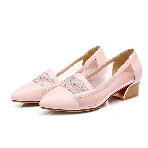 Amoonyfashion Damesslip Op Puntige Dichte Teen Lage Hakken Blend Materialen Effen Pumps-schoenen Roze