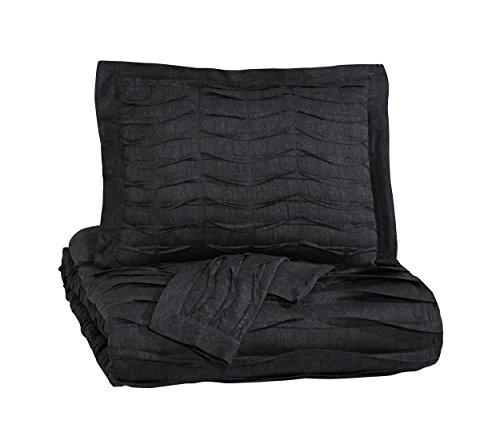 Ashley Furniture Queen Bedding - Signature Design by Ashley Q752013Q Voltos 3 Piece Duvet Cover Set, Queen, Charcoal