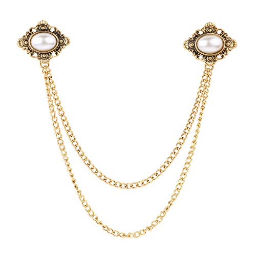 FEESHOW Women Vintage Antique Elegant Fashion Sweater Shawl Chain Clips Cardigan Collar Holders Decorations Pearl-Style One Size