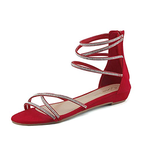 (DREAM PAIRS Women's Weitz Red Ankle Strap Rhinestones Low Wedge Sandals - 11 M US)
