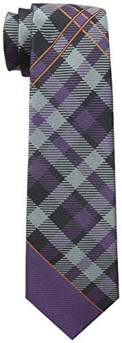 (Rooster Men's Plaid Necktie, Purple, One Size)
