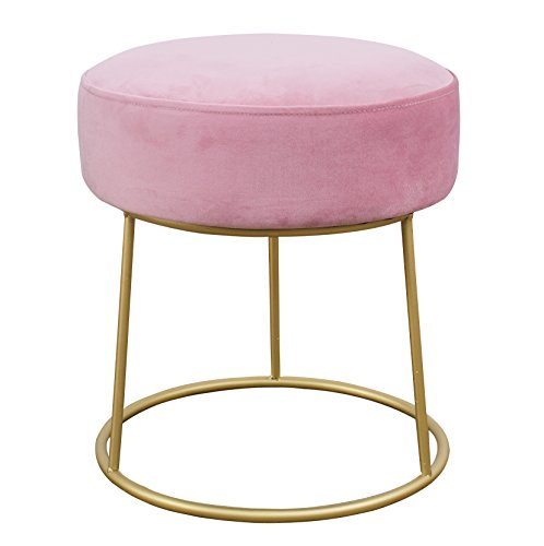 TOV Furniture The Nina Collection Modern Velvet Upholstered Round Backless Short Stool with Gold Base, Blush (Stool Vanity Furry)