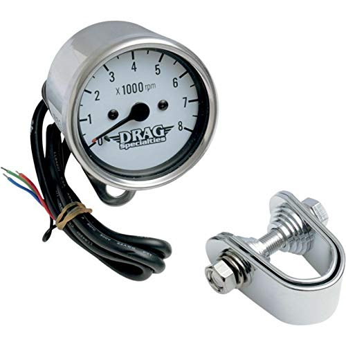 RPM Drag Specialties Chrome/White Mini Electronic 8000 Tachometer for Harley