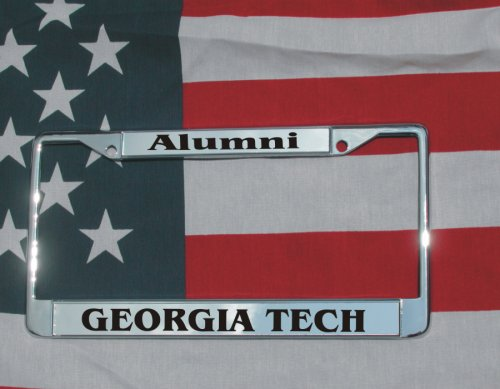 Georgia Tech Chrome Laser Engraved License Plate Frame W/FREE SCREW COVERS