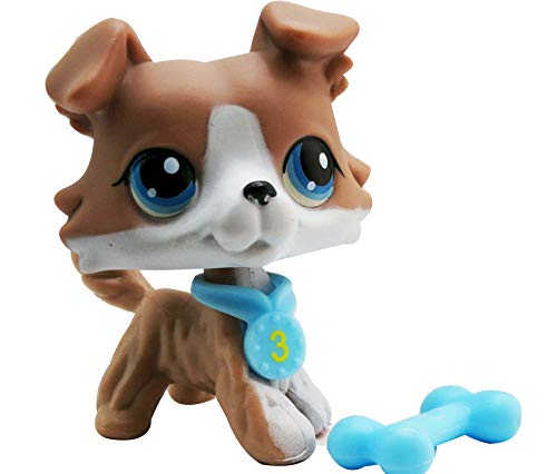 LPSOLD LPS Collie 67 Grey and White Blue Eyes Dog with Accessories Action Cartoon Figure Collection Boy Girl Kid Gift (lps 67)]()