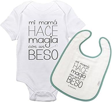 Mimuselina Pack Body Bebé Manga Corta y Babero Bebé Original - Mi Mamá hace Magia con un Beso. Regalo Madre Primeriza y Recién Nacido