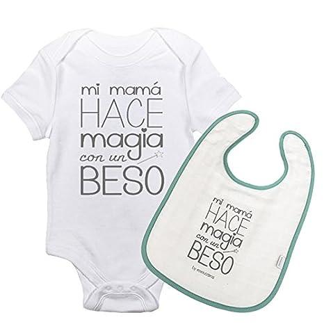 Pack Body y Babero Mi mamá hace magia con un beso. Regalo mama y recién nacido. Regalo madre primeriza. Regalo día de la madre