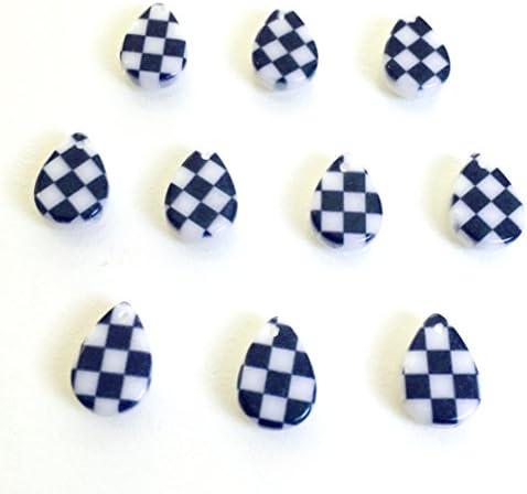 市松模様 4個 樹脂製チャーム 雫 アクセサリーパーツ ハンドメイド 手芸材料