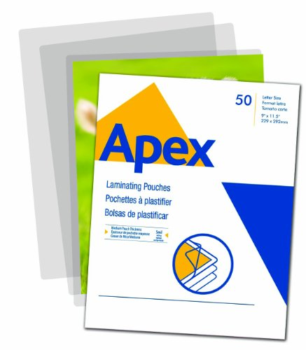 Apex Medium Laminating Pouches, Letter Size for 5 Mil Setting, 50 Pack - Apex Online