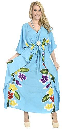 La Leela peinture à la main de rayonne douce lisse femmes cadeau collier plage soir maillots de bain occasionnel robe nuisette longue caftan kimono couvrir turquoise