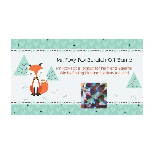22 Count Foxy Fox Baby Shower or Birthday Party Game Scratch Off Cards Big Dot of Happiness Mr