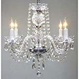 Swarovski Crystal Trimmed Chandelier! New! Authentic All Crystal Chandelier Chandeliers H17 X W17 Swag Plug In-Chandelier W/14′ Feet Of Hanging Chain And Wire! For Sale