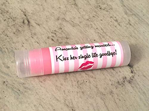 30 Personalized Lip Balms - Strawberry Flavored for Bridal Showers or Bachelorette Parties