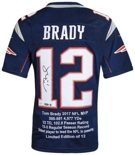 TOM BRADY Autographed New England Patriots 2017 NFL MVP Statistic Embroidered Jersey - Limited Edition of 12 - TRISTAR PRODUCTIONS & STEINER SPORTS
