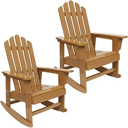 Sunnydaze Classic Wooden Adirondack Rocking Chair with Cedar Finish Set of 2, 250-Pound Capacity