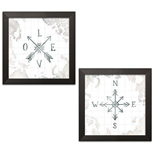 Gango Home Decor Shabby-Chic Watercolor Wanderlust Adventure III & IV by Laura Marshall (Ready to Hang); Two 12x12in Black Framed Prints for $<!--$44.99-->