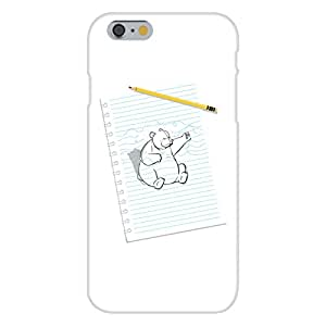 """Apple iPhone 6 Custom Case White Plastic Snap On - """"Sketching Escape"""" Funny Bear Drawing Punching on Paper"""