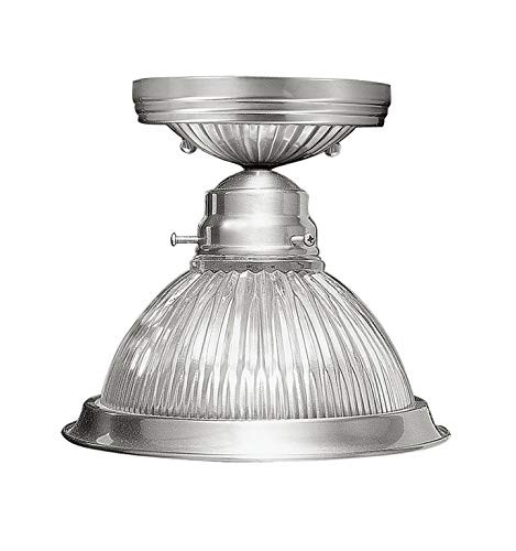 - Livex Lighting 6006-91 Flush Mount with Clear Ribbed Glass Shades, Brushed Nickel