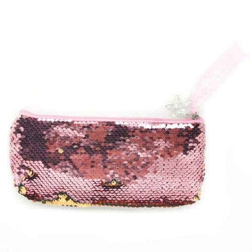 Reversible Glitter Sequin Pencil Case For Girls Cute Pencil Bag School Supplies (Color - Gold)]()