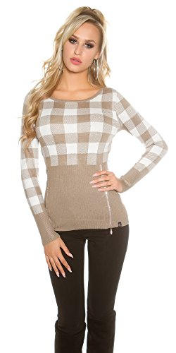 Rot unique Pull taille Taupe 5 KouCla Femme rouge w4A6gSnPq
