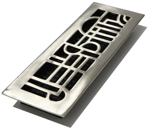 Decor Grates AD414-NKL 4-Inch by 14-Inch Art Deco Floor Register, Solid Brass with Brushed ()