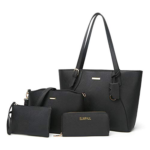 Gold Handbags Small Messenger - ELIMPAUL Women Fashion Handbags Tote Bag Shoulder Bag Top Handle Satchel Purse Set 4pcs (Black-B)