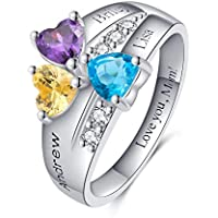 Customized Promise Ring for Her Silver Mother Rings Birthstone RingsPersonalized Rings for Women 3 Birthstones 3 Engraved Name Rings Engagement Rings Gift for Wife,Sister,Friends,Mother, Mom,Lover