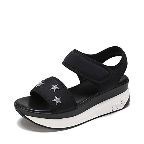 Lady Xia Cake Dick Bottom Heel Schuhe,Academy Wind Magic Aufkleber Sandalen A