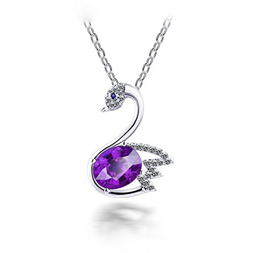 Gold Vacuum Plating Purple Austrian Crystals Swan Shape Pendant Necklace for - Tiffany N Co Uk