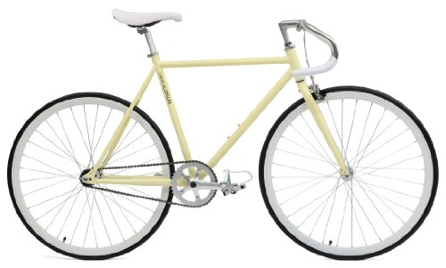 Critical Cycles Classic Fixed-Gear Single-Speed Bike with Pista Drop Bars, Cream, (Fixed Gear)